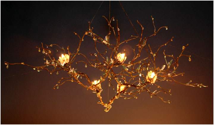 Decorate your home with these floating branch chandeliers (inquire for price), made from sculptured steel.