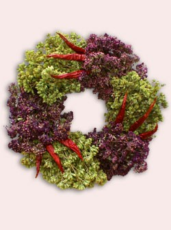 Add a beautiful and seasonal wreath  to your door or dining room with this Organic Bouquet Mama Mia Oregano Wreath ($74.95).