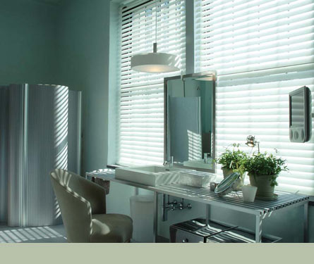 If you want to create a cool, calming space, try using cool colors that vibe off of each other in a soothing manner. This seafoam wallcolor, combined with silver and green accents, is incredibly soothing. Source