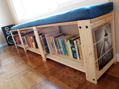 Turn shelves into a bench with this tutorial from Instructables.