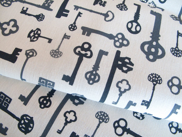 Make curtains, a duvet cover, or anything that strikes your fancy with this handprinted keys fabric ($18) from designer Tegan Rose.