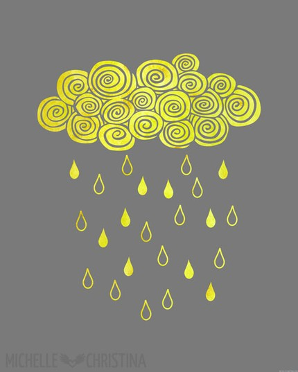 A rain storm has never looked so cheerful as in this Lemonade Storm Print ($35).