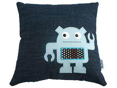 This little guy, featured on the Robot Pillow ($36) comes in peace. Isn't that what his pincer hand is doing? Making a peace sign?