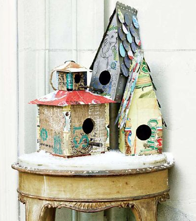 Bring birdhouses indoors with a bit of faux snow to create a unique, chic, small-scale Winter wonderland.