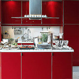Red stimulates the appetite, so it's a natural color for a kitchen. Try Ikea's Abstract line of cabinets.