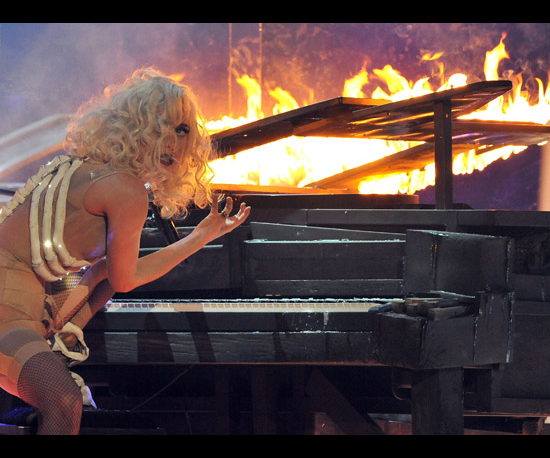 Lady Gaga Sets Her Piano on Fire