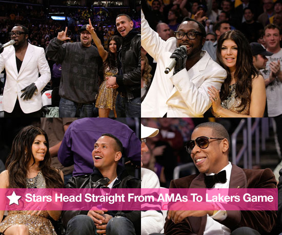Stars Go From the AMAs to the Lakers Game!
