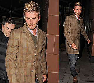 Photos of David Beckham Wearing A Brown Plaid Jacket in London