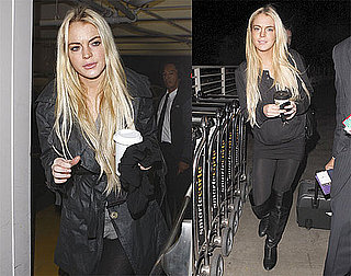 Photos of Lindsay Lohan in Black On Her Way to India