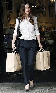 Photo of Rachel Bilson Wearing Sharp Black Trousers While Shopping in LA