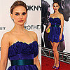 Natalie Portman Wears Blue Taffeta Dress With Purple Aldo Pumps at Brothers Premiere