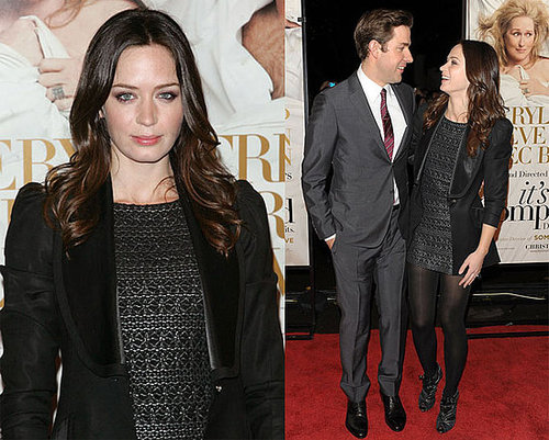 Emily Blunt Wears All Black and Black Tuxedo Blazer at the It's Complicated Premiere