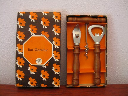Simple but handsome, this German Bar Set ($20) is very dapper and in great condition. Its original box might be my favorite element — that chocolate brown and Hermès orange palette is so chic. Paired with some matching cocktail napkins and a nice bottle of your man's favorite poison, this would make a great gift.