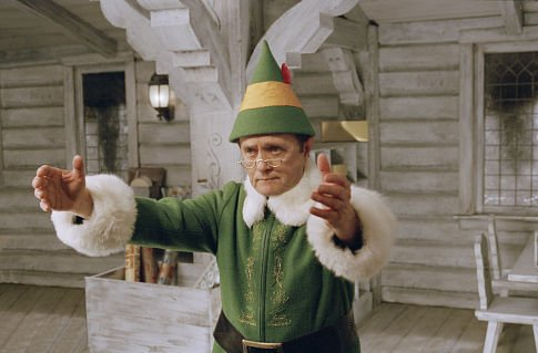 Bob Newhart directs the action at the North Pole from the comfort of a charming whitewashed elf house.