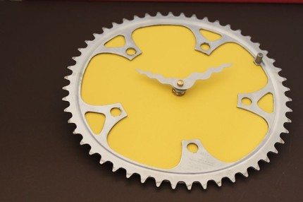 Two-wheeled warriors will approve of this Upcycled Bike Gear Clock ($45). It's made from a recycled bicycle chain ring and reclaimed textile.