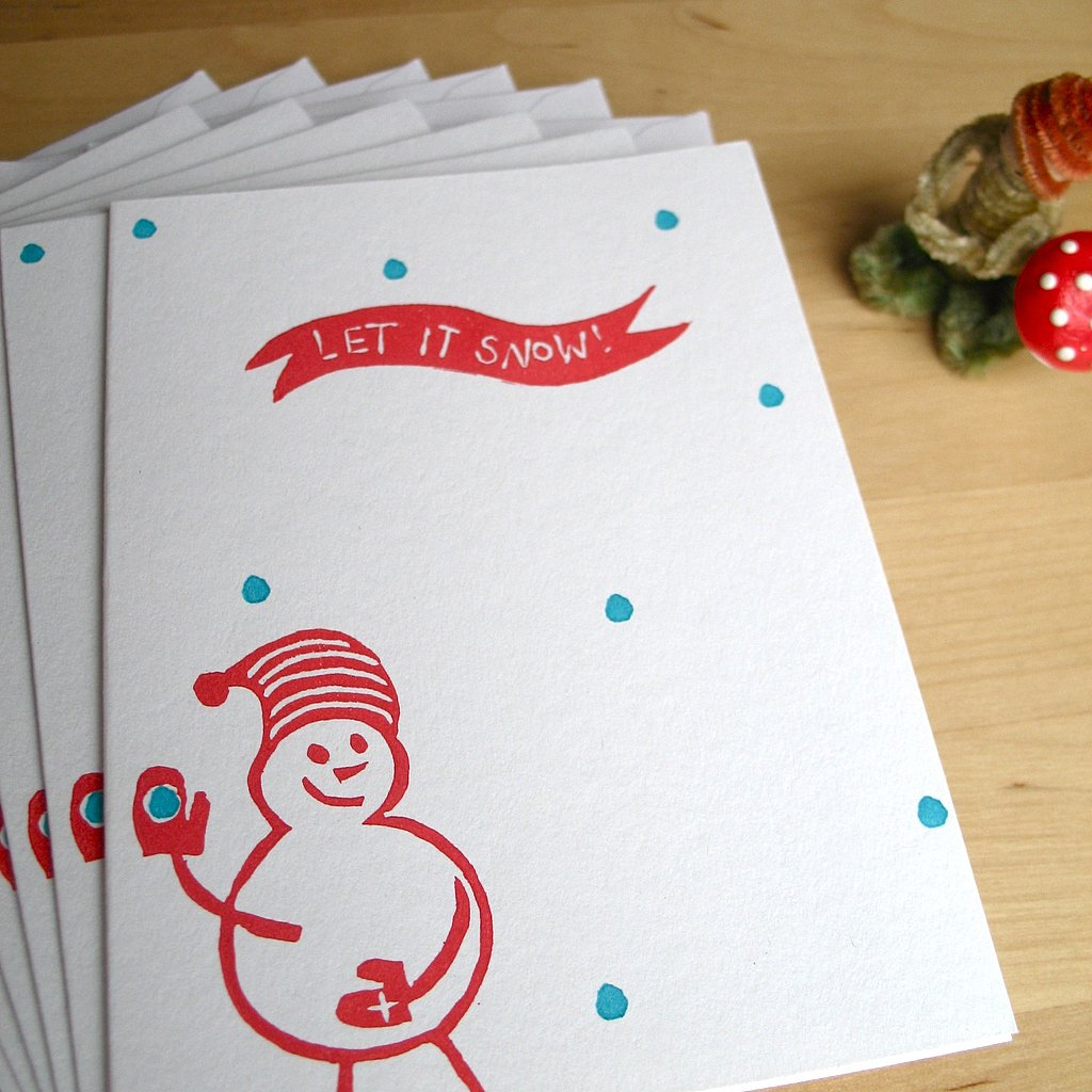Let the snowman on these adorable Let It Snow! Notes ($12 for six) wave hello to all your faraway friends.