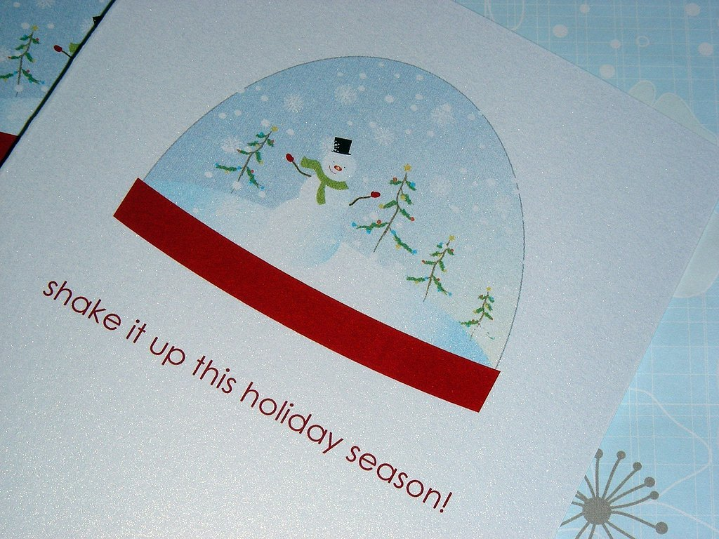 The Shake It Up This Winter cards ($10 for six) remind your recipients to have fun over the sometimes stressful holidays.