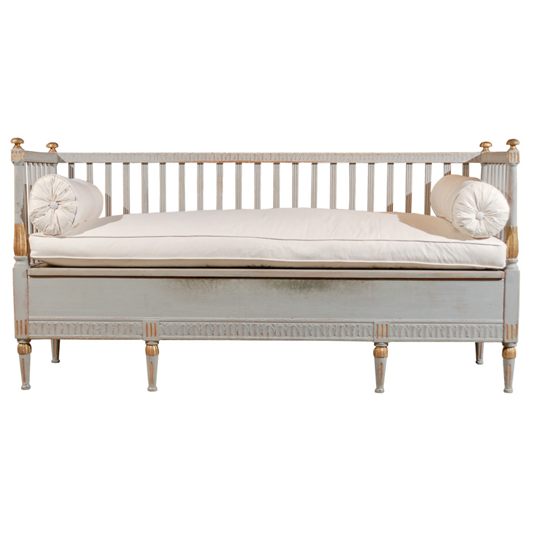 Luckily this Swedish Gustavian Bench  ($5,400) will fit your proportions perfectly.