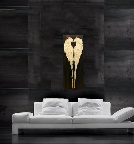 This Original Angel Wings Painting ($59) is highly texturized, and lends a modern edge to the classic angel wings.