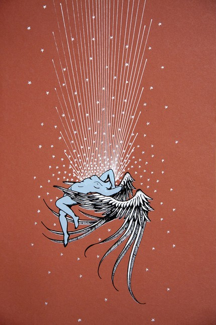This gorgeous Silkscreened Poster ($30) was for the John Vanderslice/Damien Jurado/Submarines/Black Fiction show at The Independent, as part of the San Francisco Noise Pop festival, 2007. I love the imagery of the ascending angel.