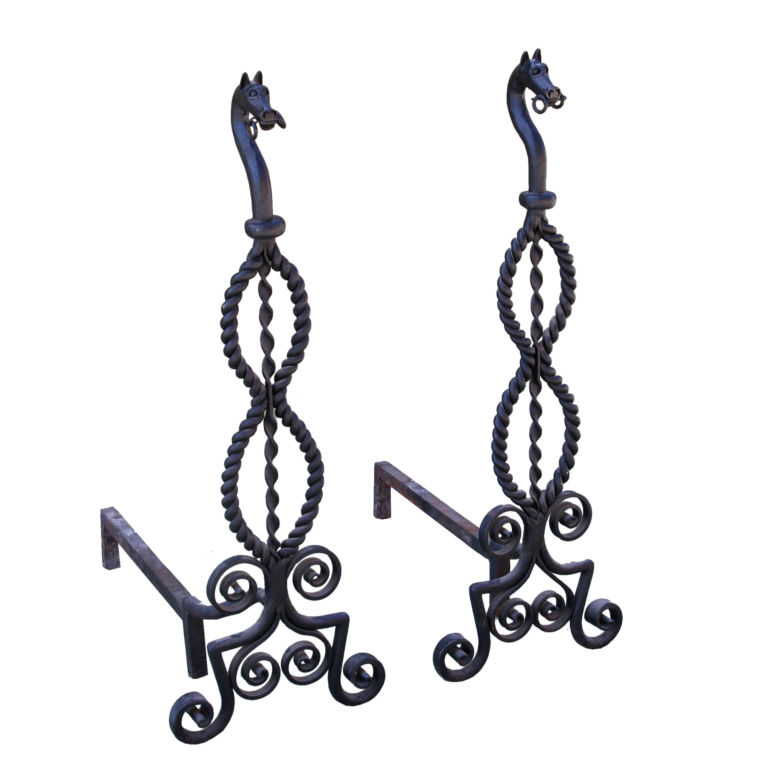 Add a pair of horses to your fireplace with this set of iron Horse Andirons ($3,600).