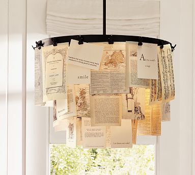 If you have the Pottery Barn Wakefield Chandelier ($300), you can switch out letters and papers for holiday cards. Or, if you have a chandelier, you can string holiday cards from that as well.