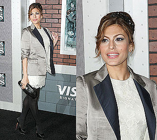 Eva Mendes in Two Tone Blazer and Ivory Lace Dress at Sherlock Holmes Premiere in NYC