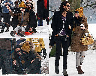 Photos of Russell Brand and Katy Perry Walking and Sledding Together in London