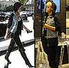 Rihanna in LA Wearing Alexander Wang Denim Hoodie Jacket and Over-the-Knee Boots