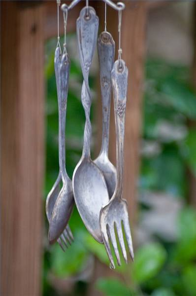 Turn vintage silver into a pretty windchime. You can find directions here. Source