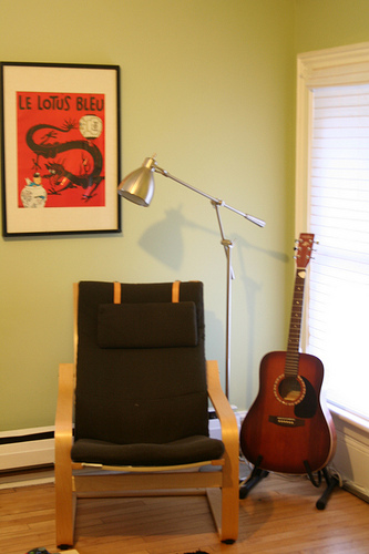 A music-worthy corner is always a great addition to a home, especially in a relaxed space like this upstairs den.