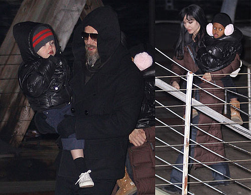 Photos of Angelina Jolie, Brad Pitt, Shiloh Jolie-Pitt, And Zahara Jolie-Pitt on The NYC Set of Salt