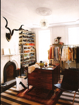 J. Crew creative director Jenna Lyons uses open storage for her wardrobe, located in her spacious Brooklyn townhouse. You can use a similar coat rack to display clothes in your home and to make up for a lack of closet space.
