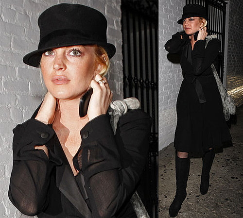 Photos of Lindsay Lohan Wearing All Black in LA and Video of Lindsay Lohan in India