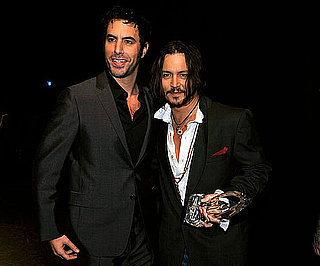 Slide Photo of Johnny Depp and Sacha Baron Cohen at 2010 People's Choice Awards