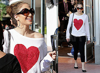 Photos of Jennifer Lopez Wearing a Heart Shirt Shopping in Miami