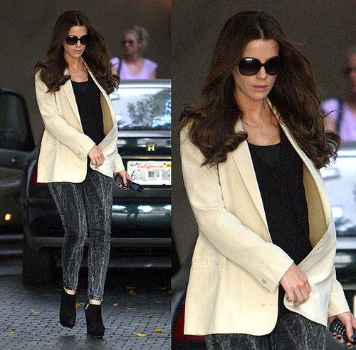 Kate Beckinsale Wears Acid Leggings and Ivory Blazer