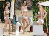 Kate Moss in a White Bandeau Bikini