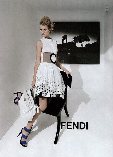 Toni Garrn for Fendi; Ph. Karl Lagerfeld