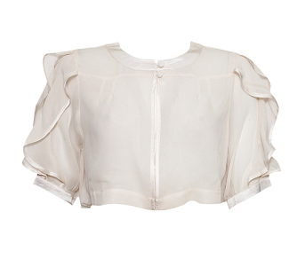 <b>Delicate Ruffles</b>. Frill Silk Bed Jacket $90 @ Topshop