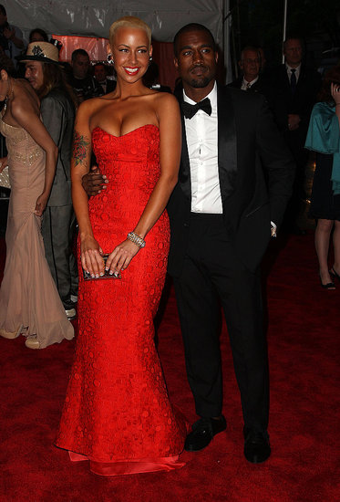 Amber Rose in Carolina Herrera and Kanye West