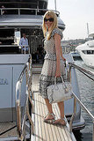 May 22: Claudia Schiffer arrives on Stefano Gabbana's yacht, Regina D'Italia