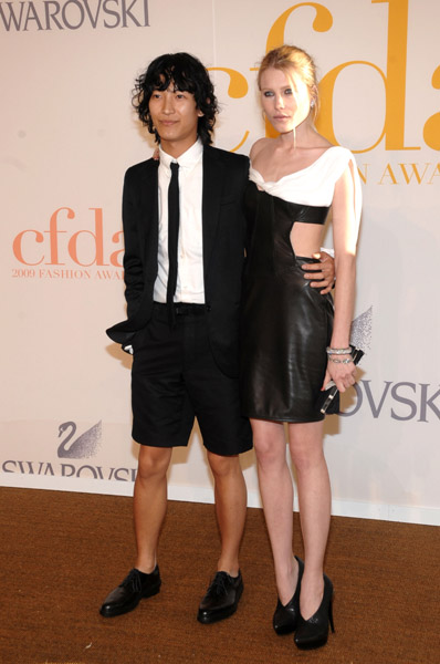 Alexander Wang with Dree Hemingway in his design