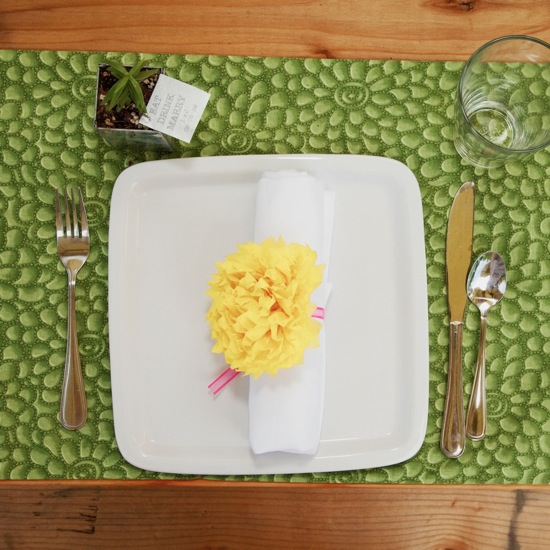 Tablescape and Pom-Pom Napkin