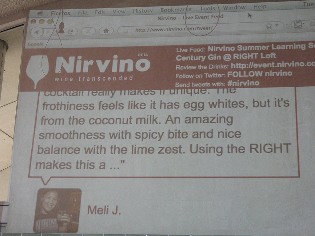 At the event, Nirvino users were invited to rate the gin with their mobile devices.