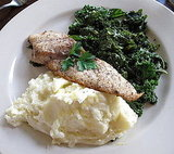 Amberjack, Lemon-Zest Mashed Potatoes, and Sautéed Kale