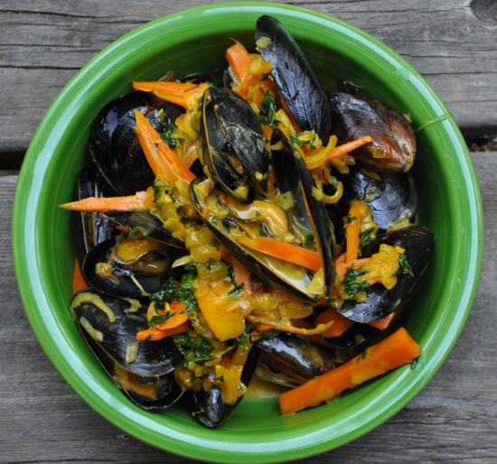Salmon In Saffron Mussel Sauce Recipe — Dishmaps