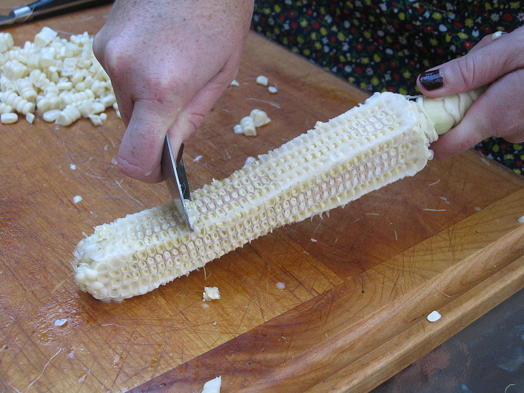 If making a soup or corn chowder, run a spoon down the side of the corn to extract all the pulp — this can be used to thicken the soup. For an enhanced corn flavor, add the kernel-less cobs to the stock pot. Discard when the soup is done cooking.