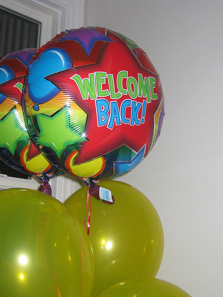 Welcome back balloons served as decoration.
