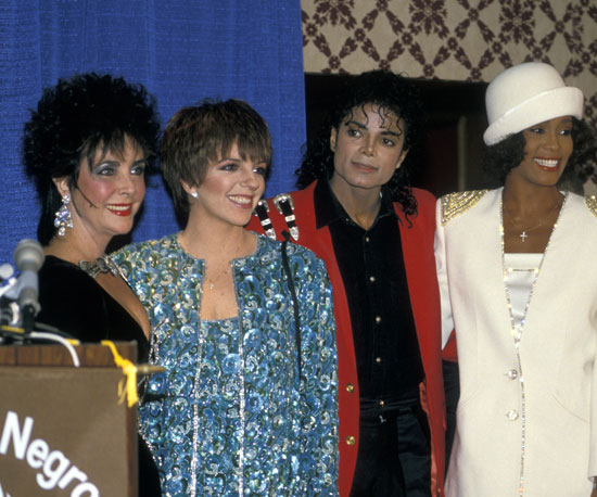 Elizabeth Taylor, Liza Minnelli, Michael Jackson, Whitney Houston — need we say more? The foursome was seen here in 1988.
